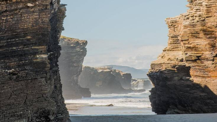 The incredible rock formations along one of the best beaches in Spain, Playa de las Catedrales, Galicia