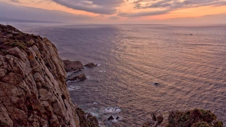 A view from the cliff tops of Playon de Bayas, Galicia