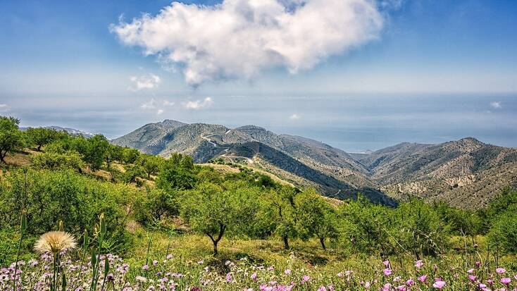 A view over Spanish mountains towards Spanish beaches