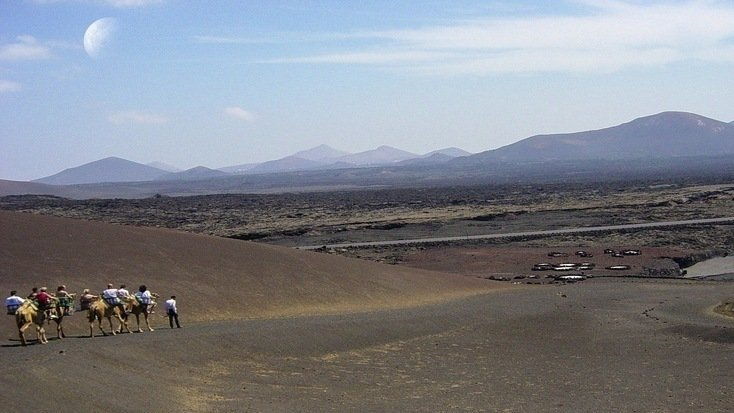 Tourists riding camels in the Timanfaya National Park