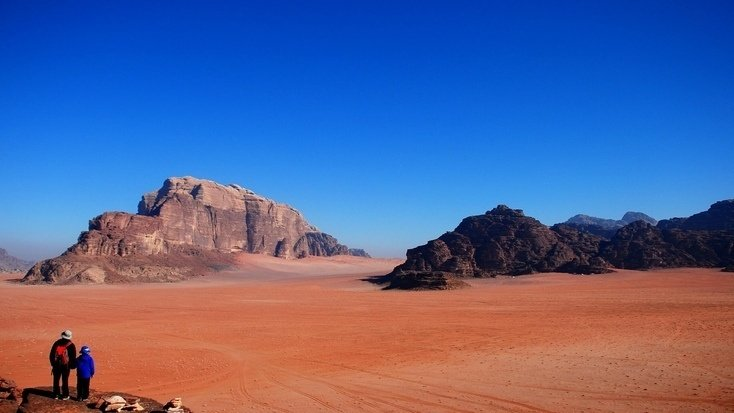 Two tourists in the Wadi Rum desert on Star Wars Day