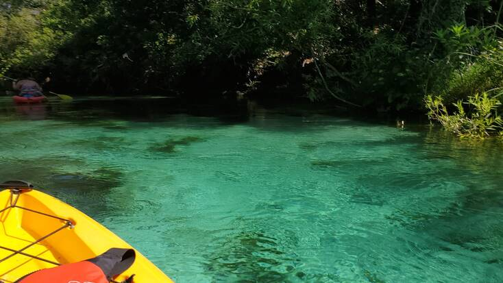 A kayak exploring Weeki Wachee State Park