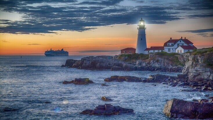 The portland head lighthouse. When you visit Maine beach getaways, check it out!