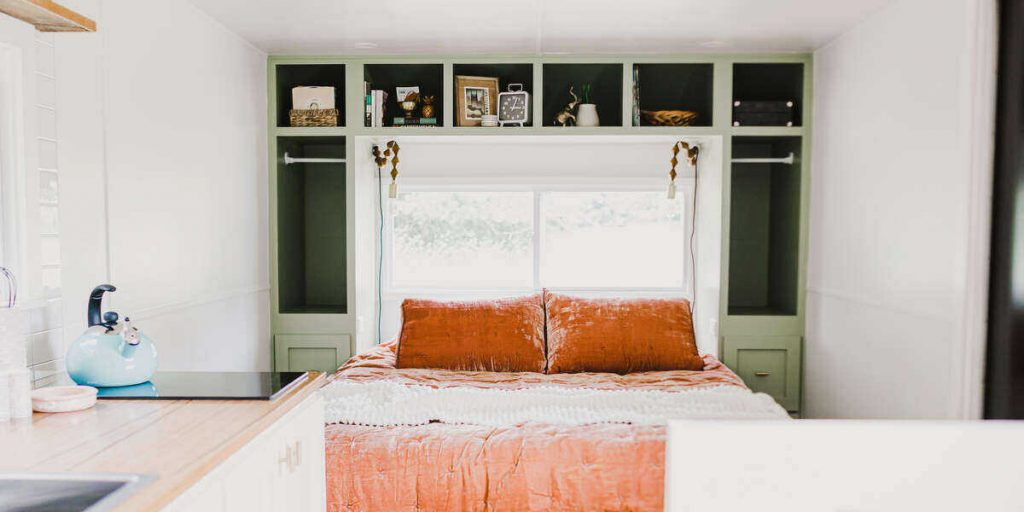 The plush bed in the TN glamping getaway