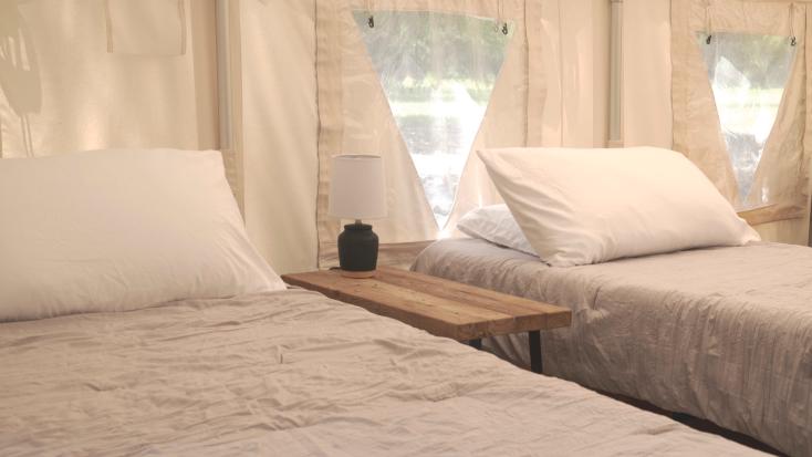 Two twin singles in luxury camping near Dallas, Texas.