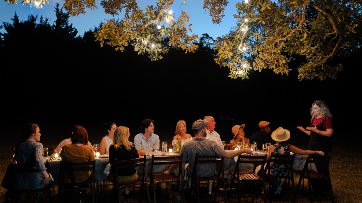 The Chef's table experience at a glamping farm stay in Texas.