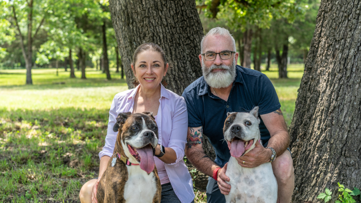 Glamping Hub's Host of the Month for September 2021: Sherry and Houston in Texas with two happy dogs.